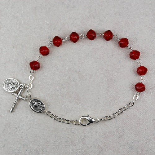 DIVINE MERCY W/RED ROSARY BRAC