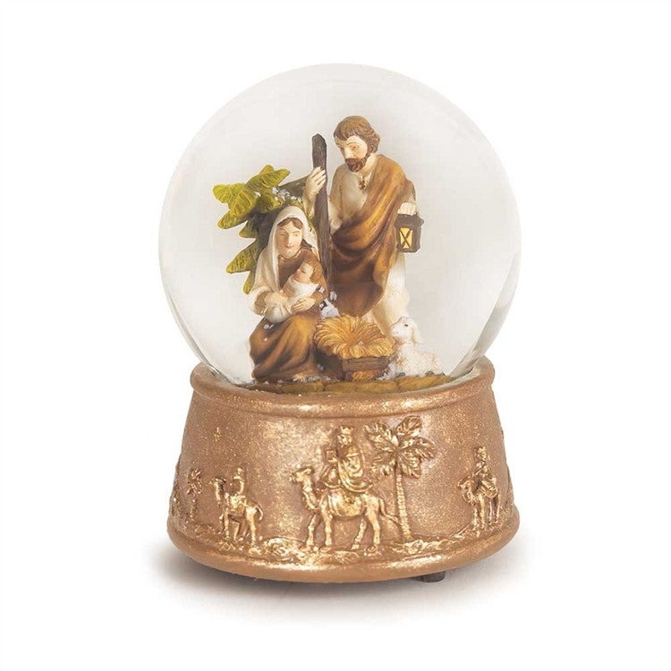 HOLY FAMILY WATERGLOBE GOLD