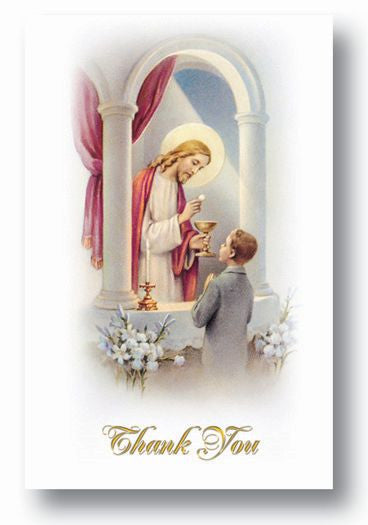 BOYS COMMUNION THANK U CARDS