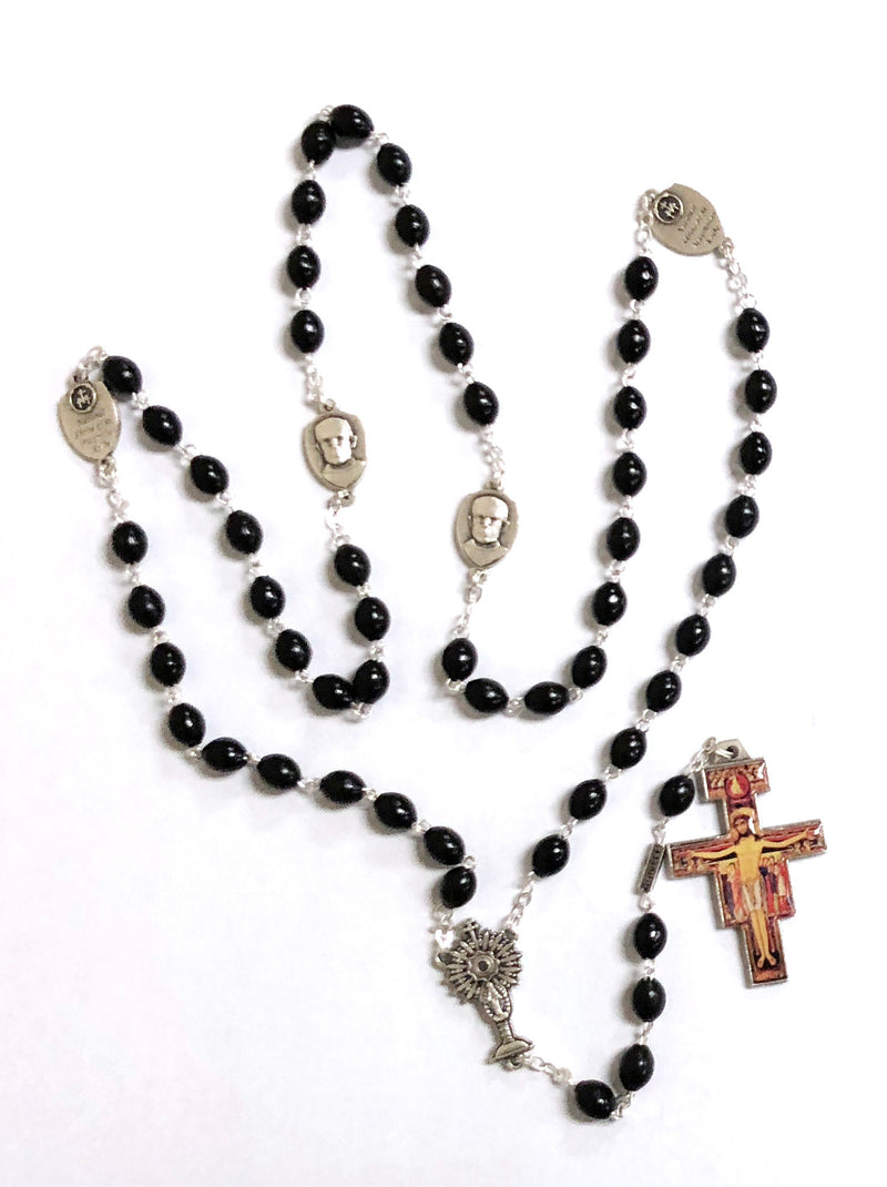 ST MAX CUSTOM BLACK ROSARY