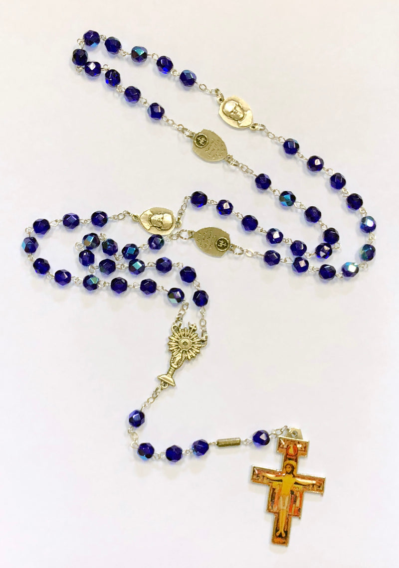 ST MAX CUSTOM BLUE ROSARY