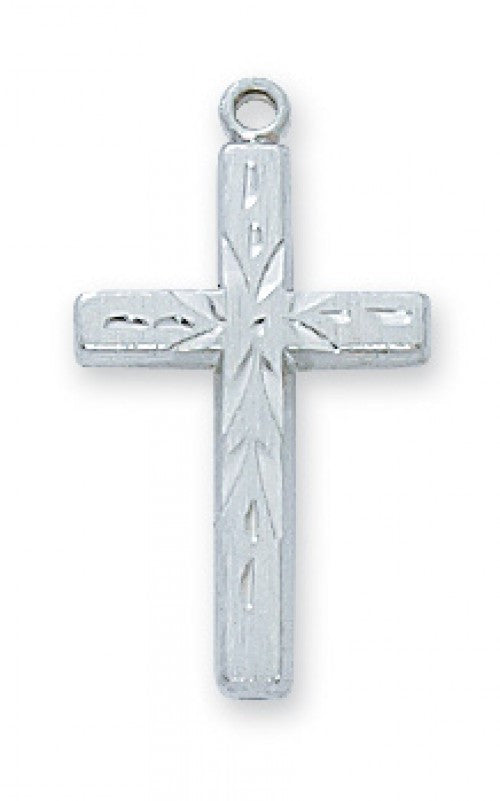 "SS ENGRAVED CROSS 18"" CH/BX"