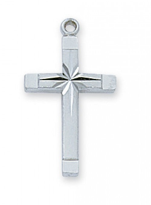 "SS ENGRAVED CROSS 18"" CH/BOX"