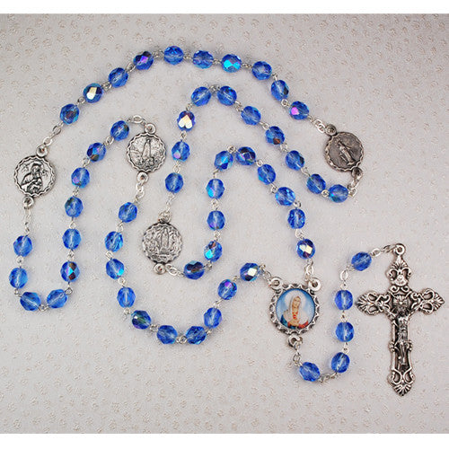 BLUE MARIAN ROSARY 7MM
