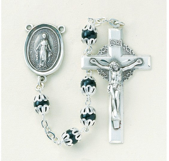 6MM BLK CAPPED ROSARY