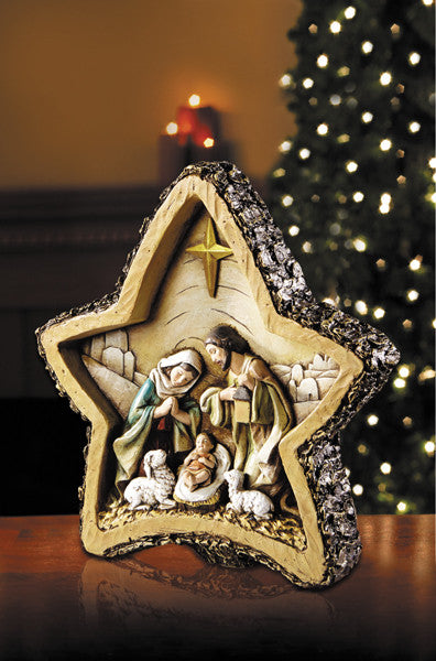 WOODGRAIN STAR NATIVITY 8""