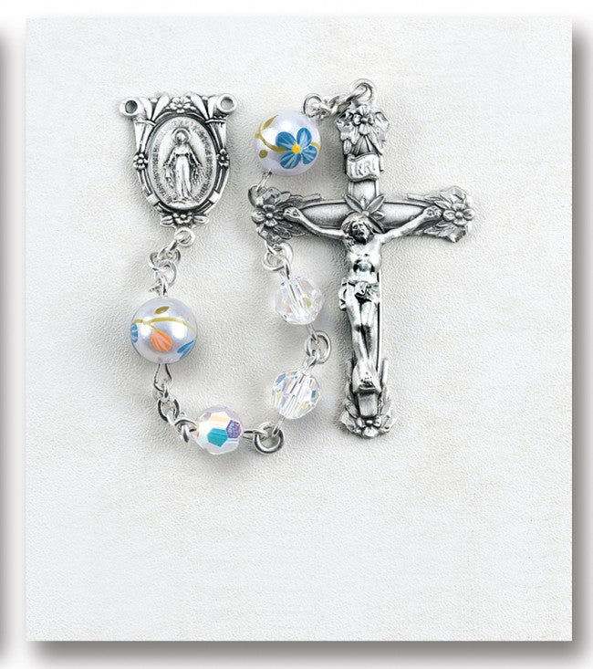 6MM ROSARY CRYSTAL W/PAINTED