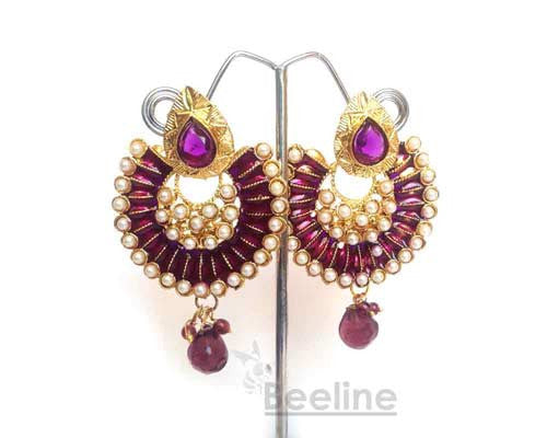 Buy Attractive Polki Earring Online | Purple | Hayagi - Beeline