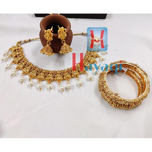 Combo Set, Laxmi Necklace & Antique Kada_Hayagi(Pune)