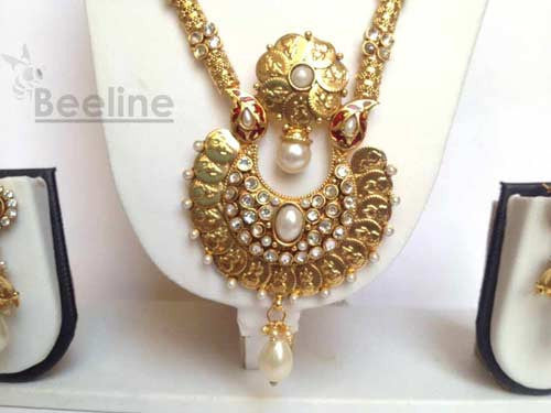 Laxmi Coin Long Necklace Set in Gold Finish, Temple Jewelery - Hayagi - Beeline  - 2