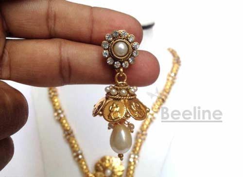 Laxmi Coin Long Necklace Set in Gold Finish, Temple Jewelery - Hayagi - Beeline  - 3