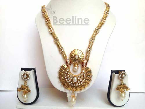 Laxmi Coin Long Necklace Set in Gold Finish, Temple Jewelery - Hayagi - Beeline  - 1