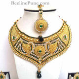 Ethnic Bridal Necklace, Maroon Green Stone Neckace-Hayagi - Beeline  - 2