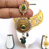 Ethnic Bridal Necklace, Maroon Green Stone Neckace-Hayagi - Beeline  - 3