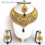 Ethnic Bridal Necklace, Maroon Green Stone Neckace-Hayagi - Beeline  - 1