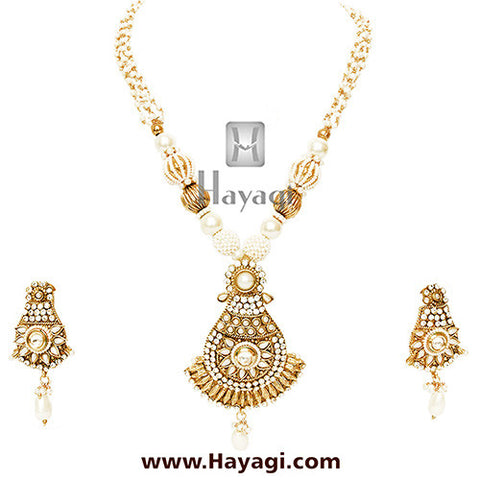 Bead Necklace Set With Pearl Strings, Beaded Jewelery - Hayagi