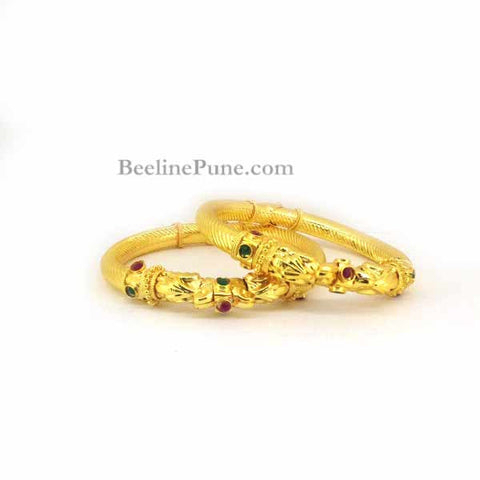 Gold Finish Bangle With Stone Work, Stone Jewellery-Hayagi