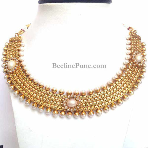 Buy Indian Necklace Online, Gold Pearl Necklace - Hayagi - Beeline  - 2