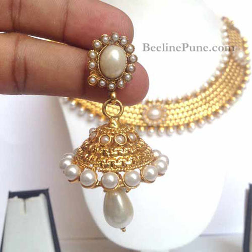 Indian Necklace Online, Gold Pearl Necklace - Hayagi