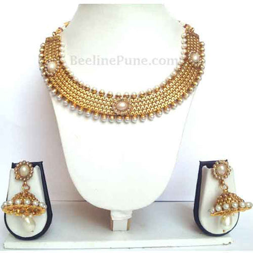 Buy Indian Necklace Online, Gold Pearl Necklace - Hayagi - Beeline  - 1