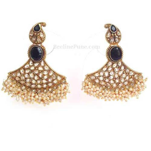 Ethnic Antique Polish Stone AD Faux pearl Earrings Black | Hayagi - Beeline