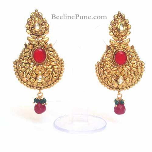 Ethnic Antique Gold Polish Red Earrings | Hayagi - Beeline