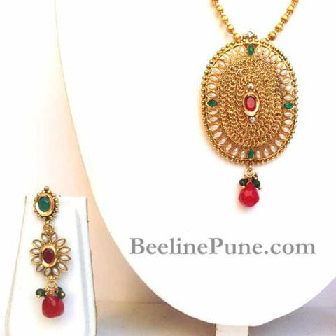 Golden & Pearl Pendant Set With Chain, Unique Pendant Set-Hayagi