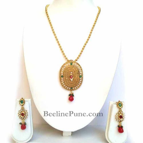 Golden & Pearl Pendant Set With Chain, Unique Pendant Set-Hayagi - Beeline  - 1
