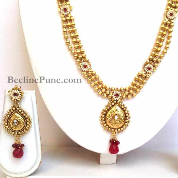 Long Bridal Kundan Necklace set Online - Hayagi - Beeline  - 3