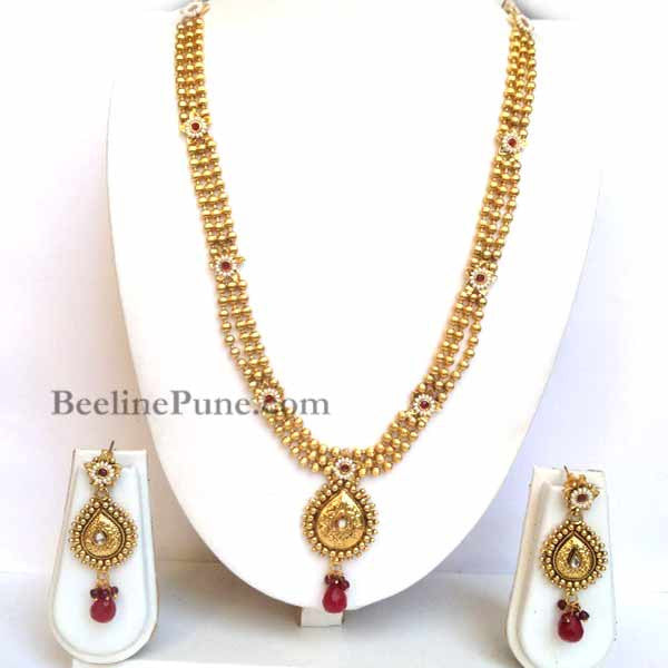 Long Bridal Kundan Necklace set Online - Hayagi - Beeline  - 1