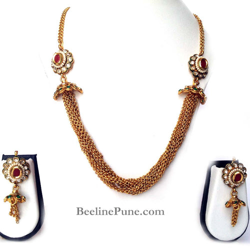 Beautiful Necklace Set, Colored Stone Studded Necklace Set, Best Price Online-Hayagi - Beeline  - 1