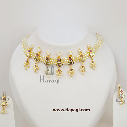 Chinchpeti Haar in 3 Strings Pearl 7 Peti Haar Online India - Hayagi