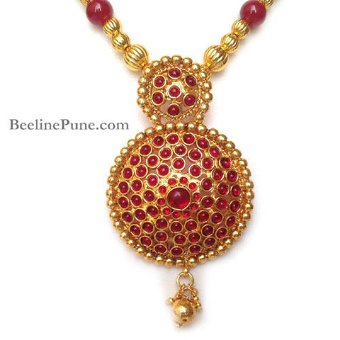 Kemp Beautiful Maroon Stone Studded Necklace Set Online-Hayagi - Beeline  - 3