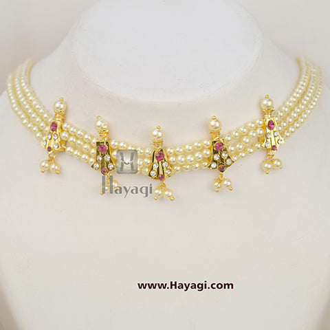 5 Peti Chinchpeti Haar in 3 Strings Pearl Haar Online India - Hayagi