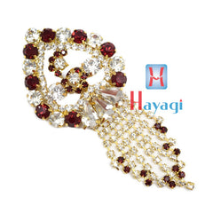 Maroon & White Colour Brooch Pendant With Flower Design