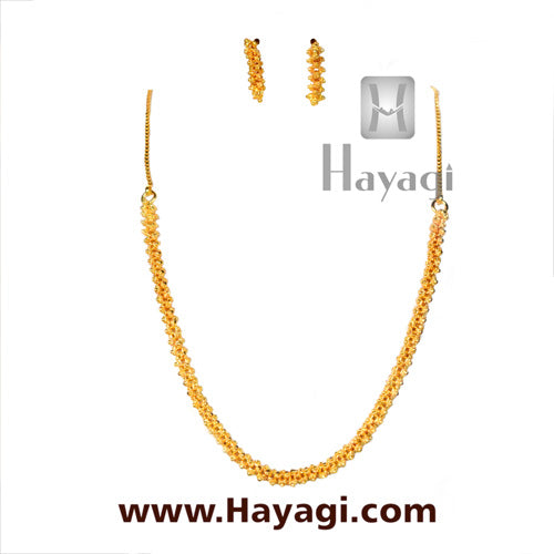 Bakuli/Gajra Haar Golden Flower Short Necklace-Hayagi