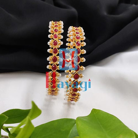 Pearl Kada Maroon Colour  Set of 2_Hayagi(Pune)