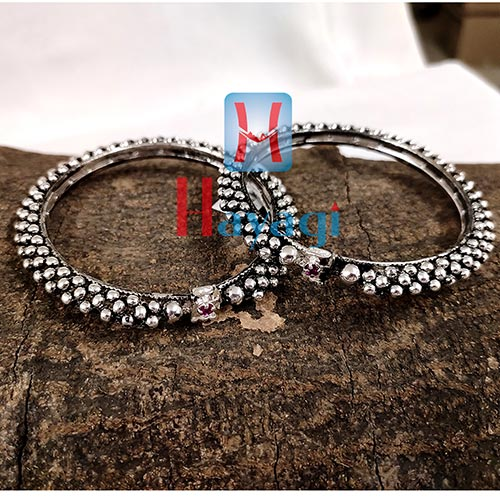 Thushi Bangles Kada German Silver Finish Oxidized for Women-Hayagi(Pune)