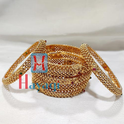 Antique Finish Bangles Set Of 6 For Bride_Hayagi Pune