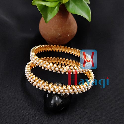 Kada, Pealrs Preety Bangles Set of 2 Traditional Jewellery_Hayagi(Pune)