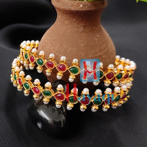 Pearl Kada Multicolour Set of 2_Hayagi(Pune)