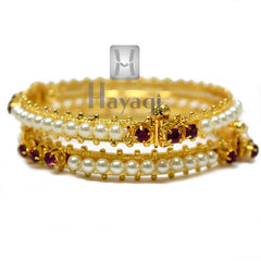 Indian Traditional Bangles Pearl Pink Stone Buy Online - Hayagi