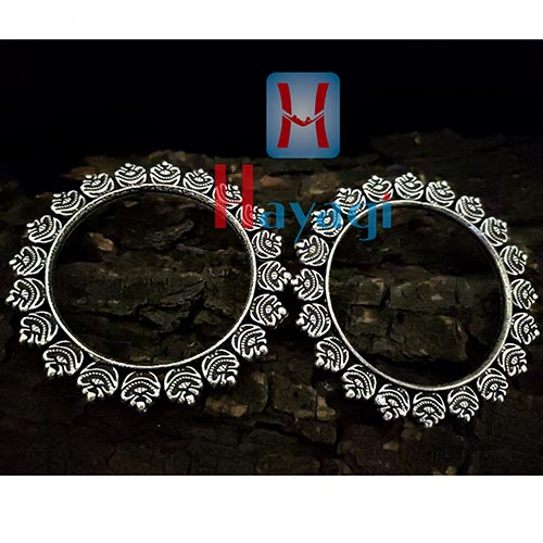 Oxidized Silver Finish Kada Bangles for Women-Hayagi(Pune)