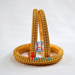 Golden Finish Bangles Set Ball design - Hayagi