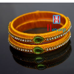 Silk Bangles Yellow Colour White Stone Online-Hayagi