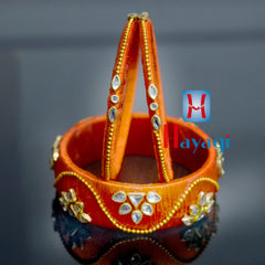 Silk Bangles Orange Colour Golden Pearl Online-Hayagi