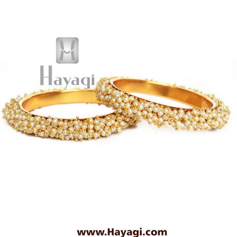 Pearl cluster bangle pair Online Jewellery - Hayagi - Beeline  - 2