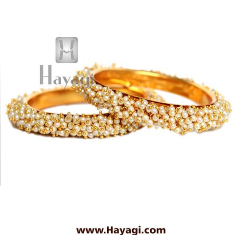 Pearl Cluster Bangle Pair Online Jewellery - Hayagi