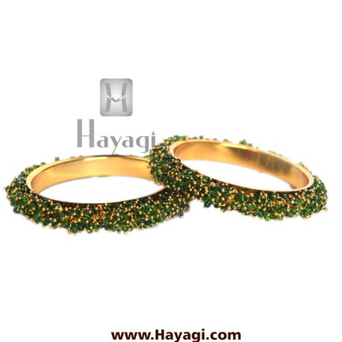Green Beads cluster bangle pair Online Jewellery - Hayagi - Beeline  - 2
