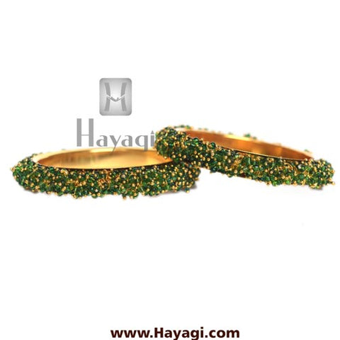 Pearl Bangles, Green Pearls Cluster Bangle - Hayagi